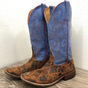 Anderson Bean patchwork suede western boot blue